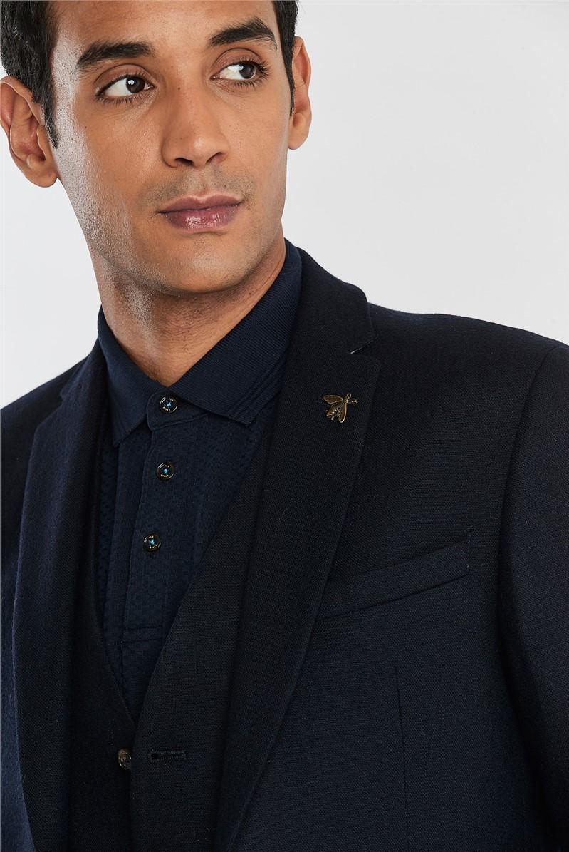 Navy Tweed Slim Fit Jacket