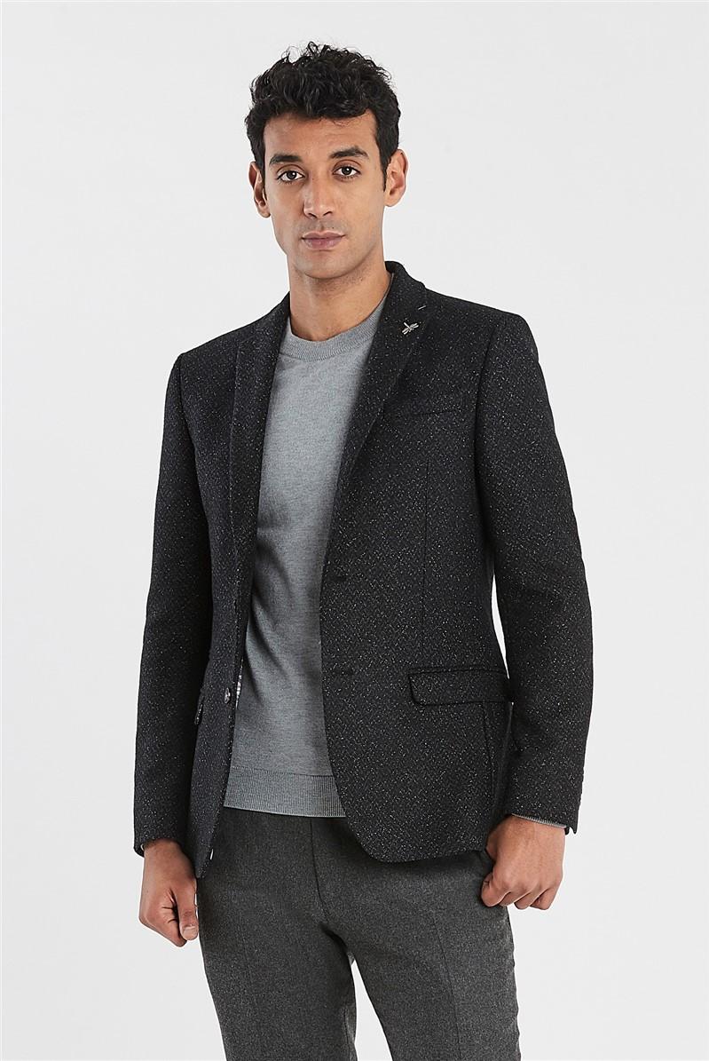 Charcoal Herringbone Speckle Slim Fit Jacket