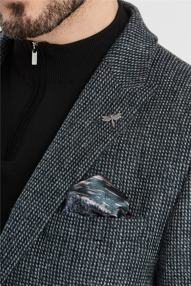 Charcoal Micro Check Regular Fit Jacket