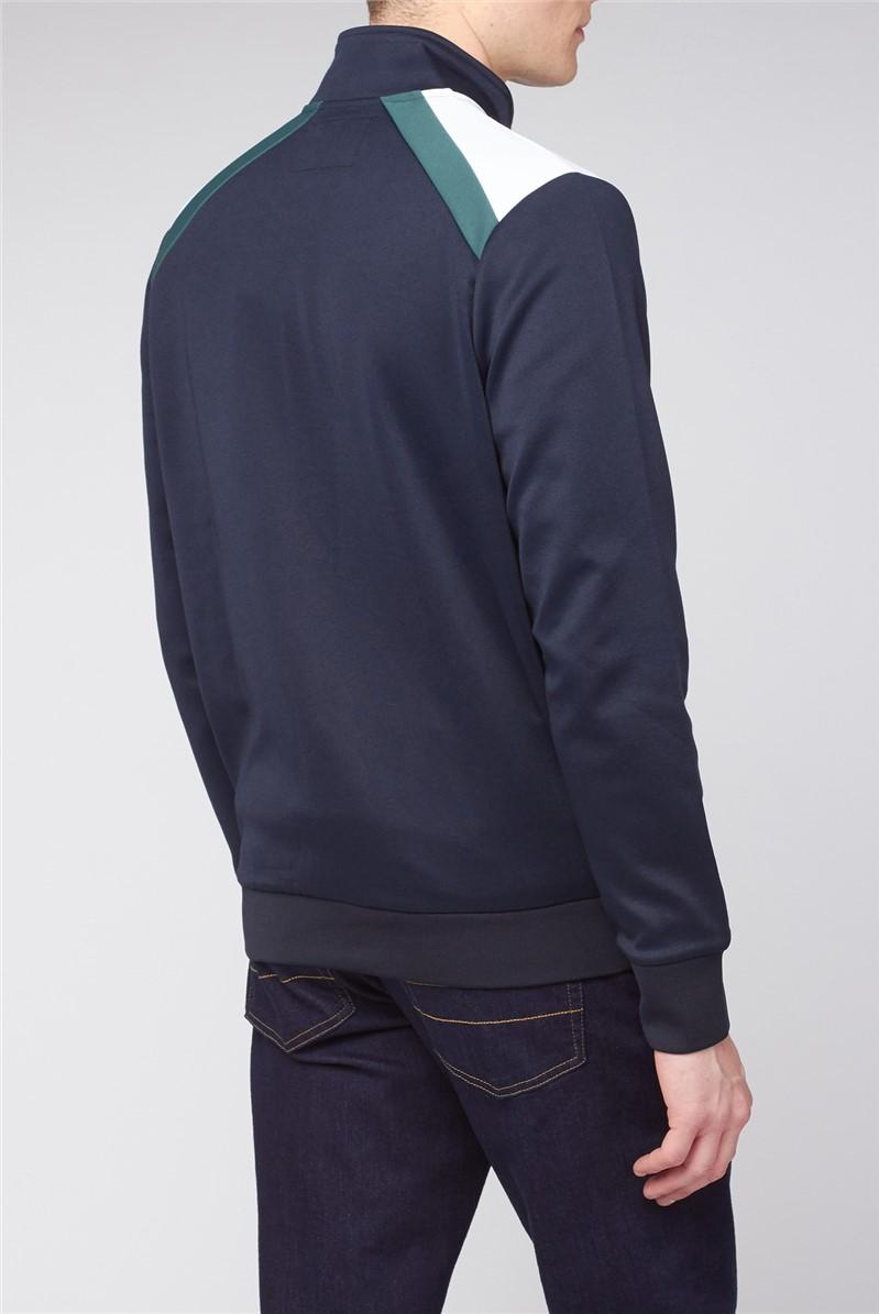 Navy Green Tricot Zip Through Jacket