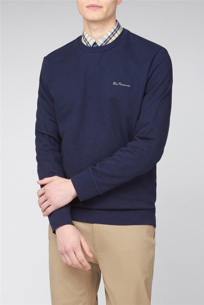 Navy Crew Neck Sweatshirt with Embroidered Logo