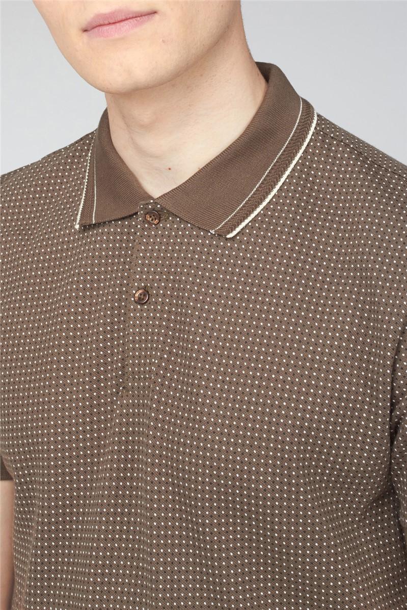 Printed Pique Polo - Khaki