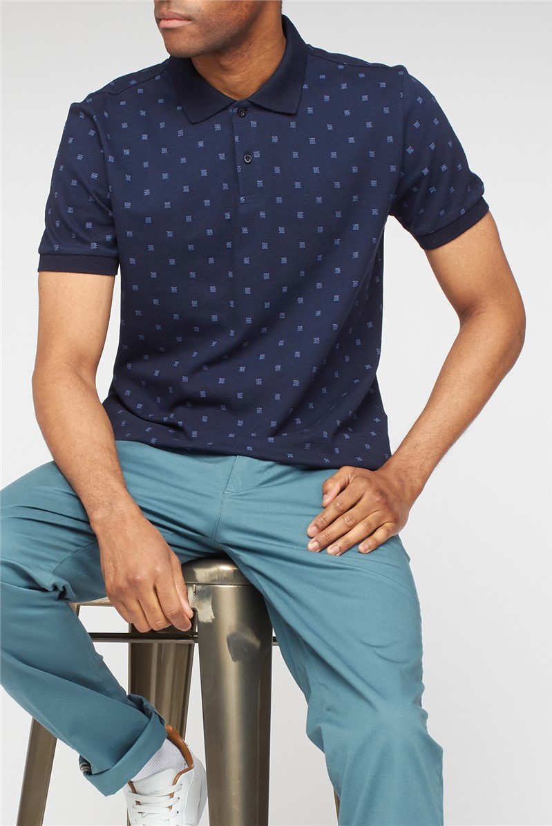 Navy Geo Print Polo Shirt