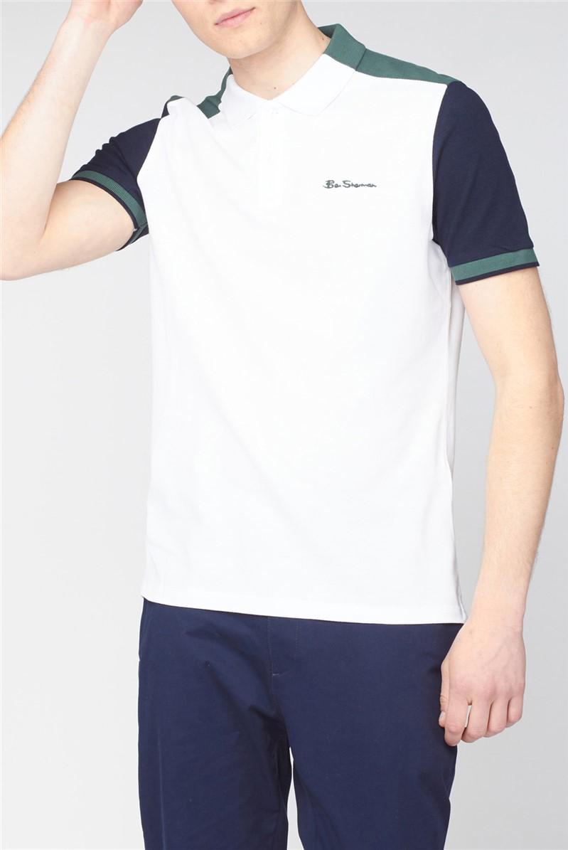 White Colour Block Polo