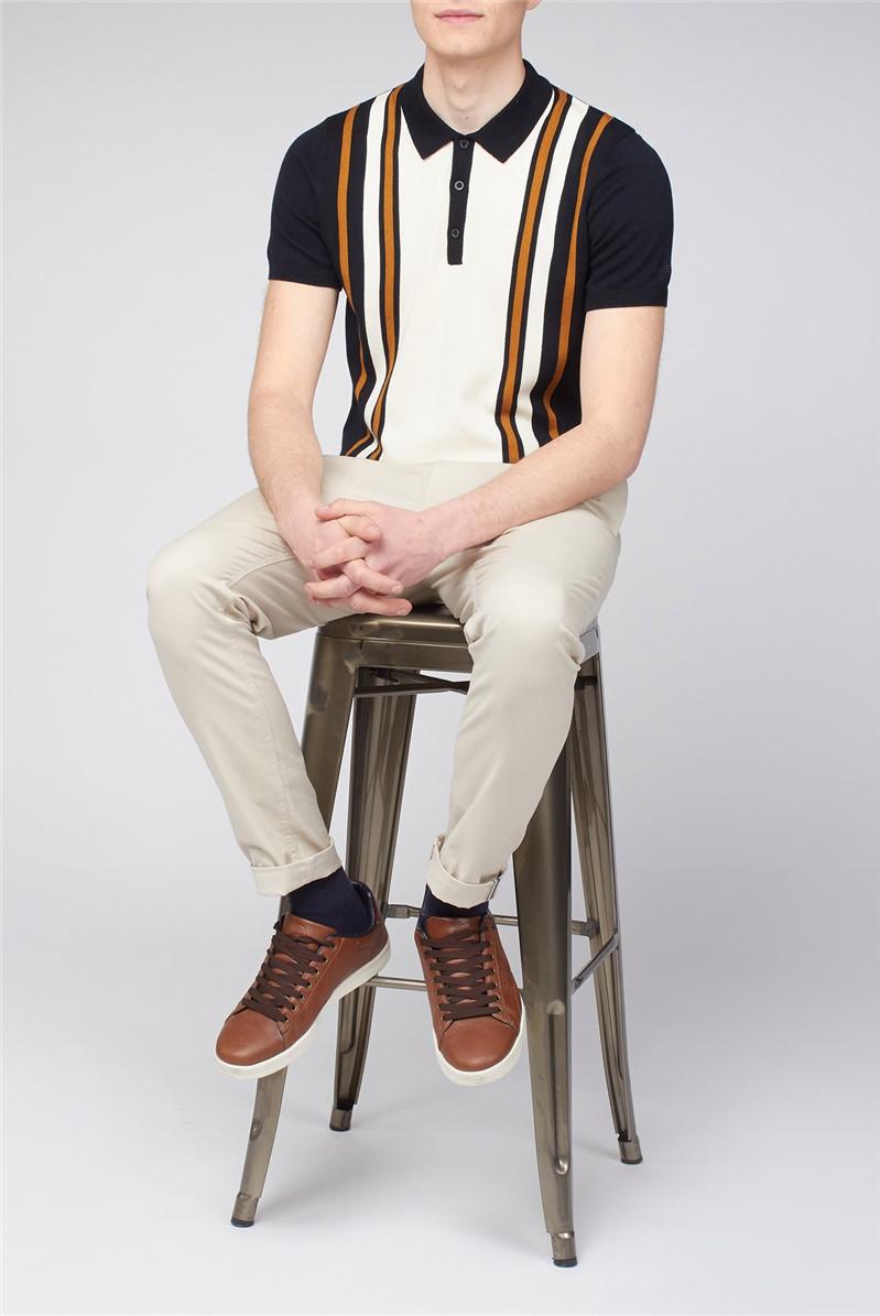 Black Cream Colour Block Polo Knit Shirt