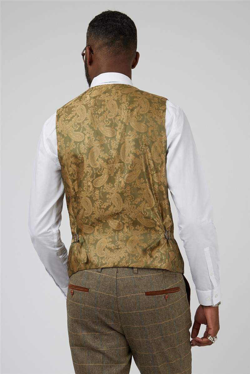 Ted Tan Check Tailored Fit Suit Waistcoat