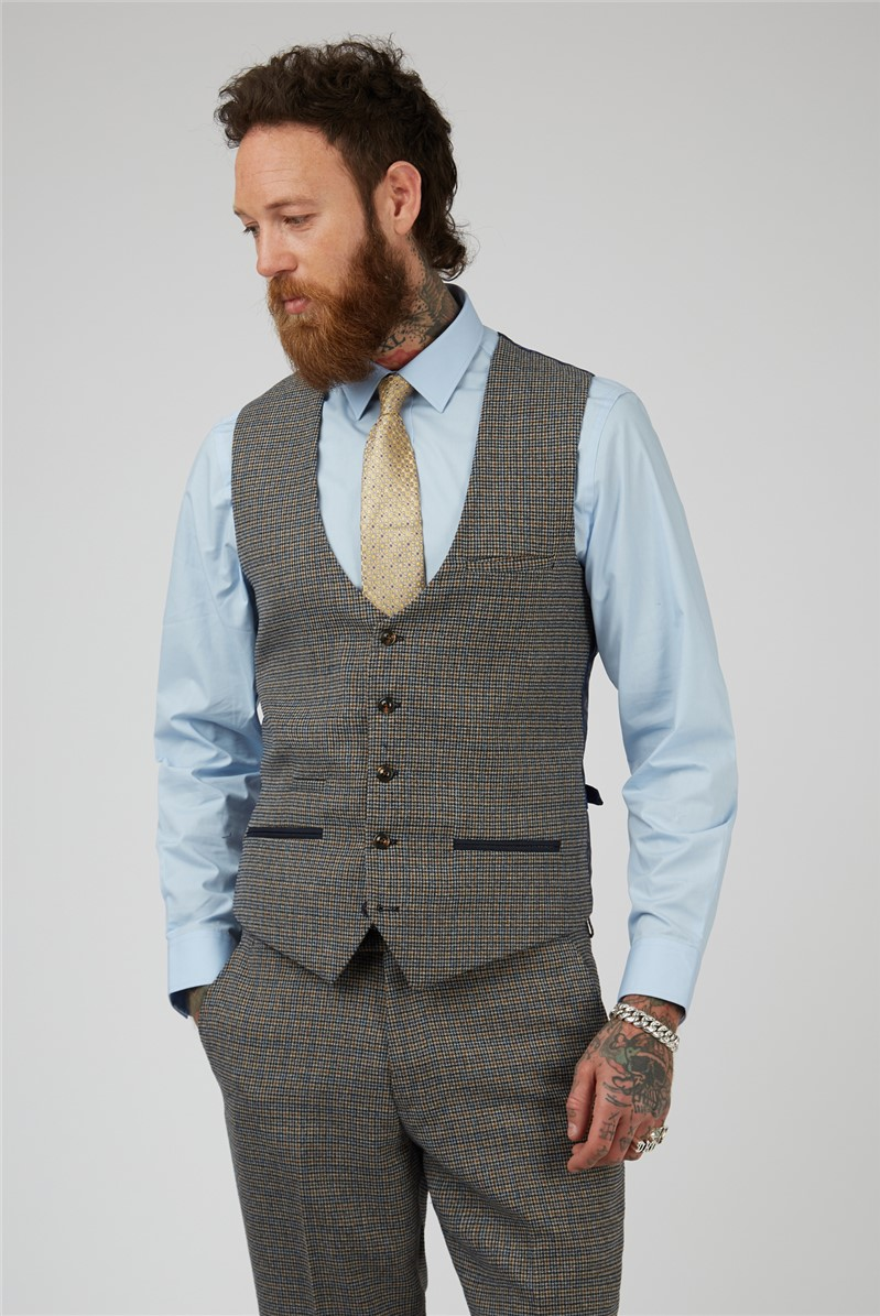 Hardwick Tan Navy Check Tailored Fit Suit