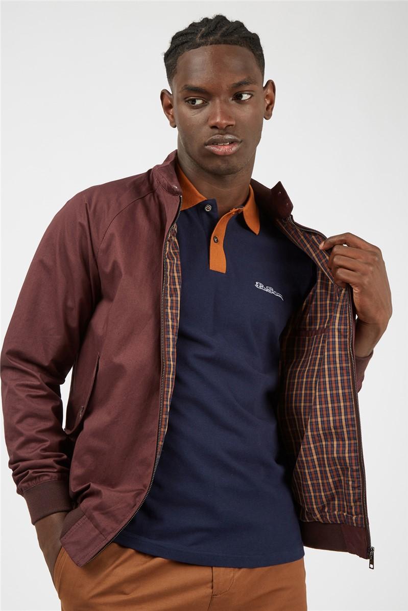 Short Sleeve Blue Colour Block Polo Shirt