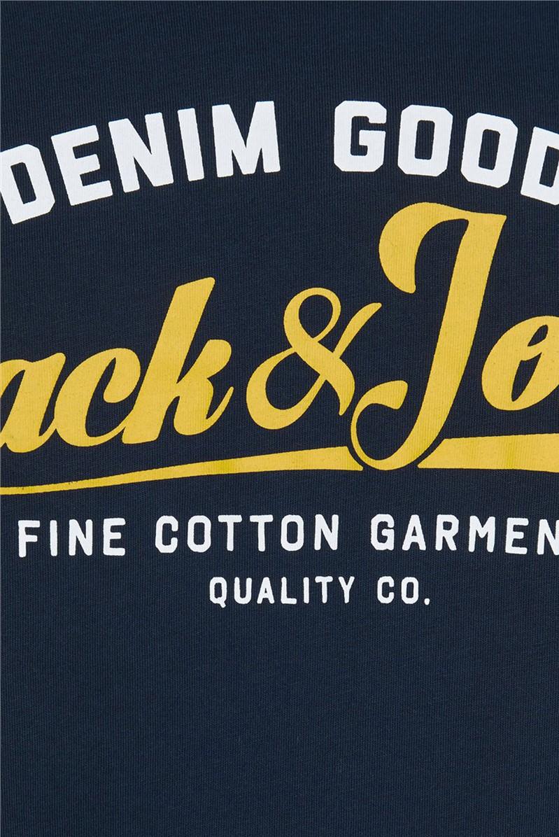 JACK & JONES Navy Logo Print T-Shirt