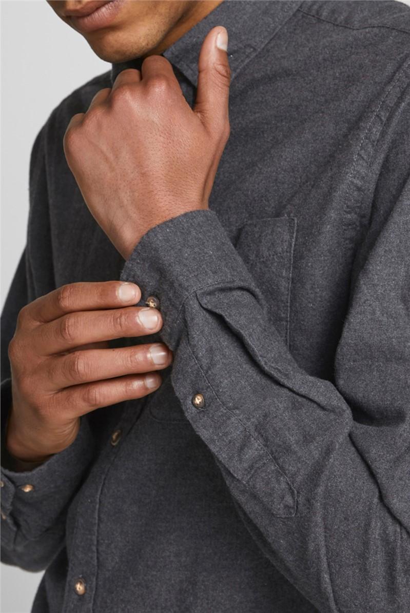 JACK & JONES Charcoal Melange Button Down Shirt