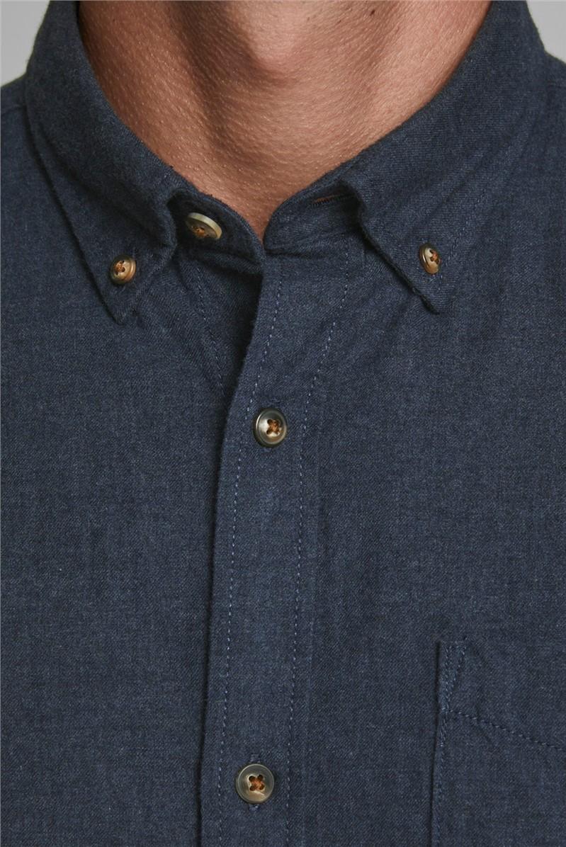 JACK & JONES Navy Melange Button Down Shirt
