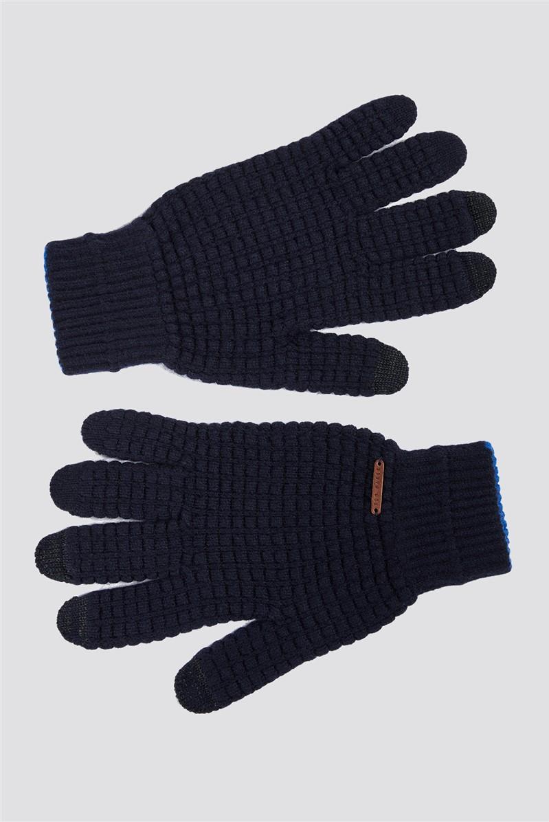 Navy Textured Gloves