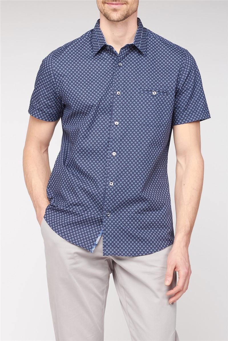 Short Sleeve Navy Geometric Print Shirt