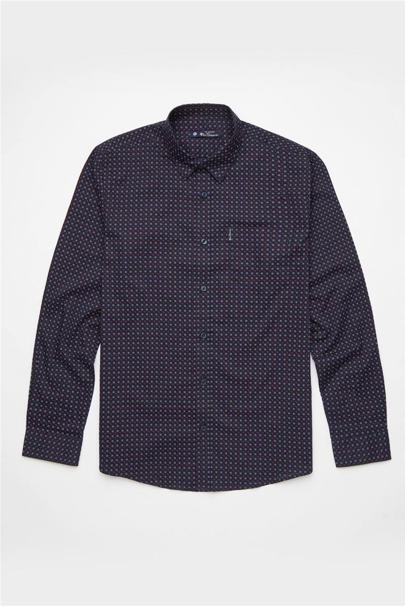 SMU  Casual Long Sleeve Scatter Sqaure Print Shirt