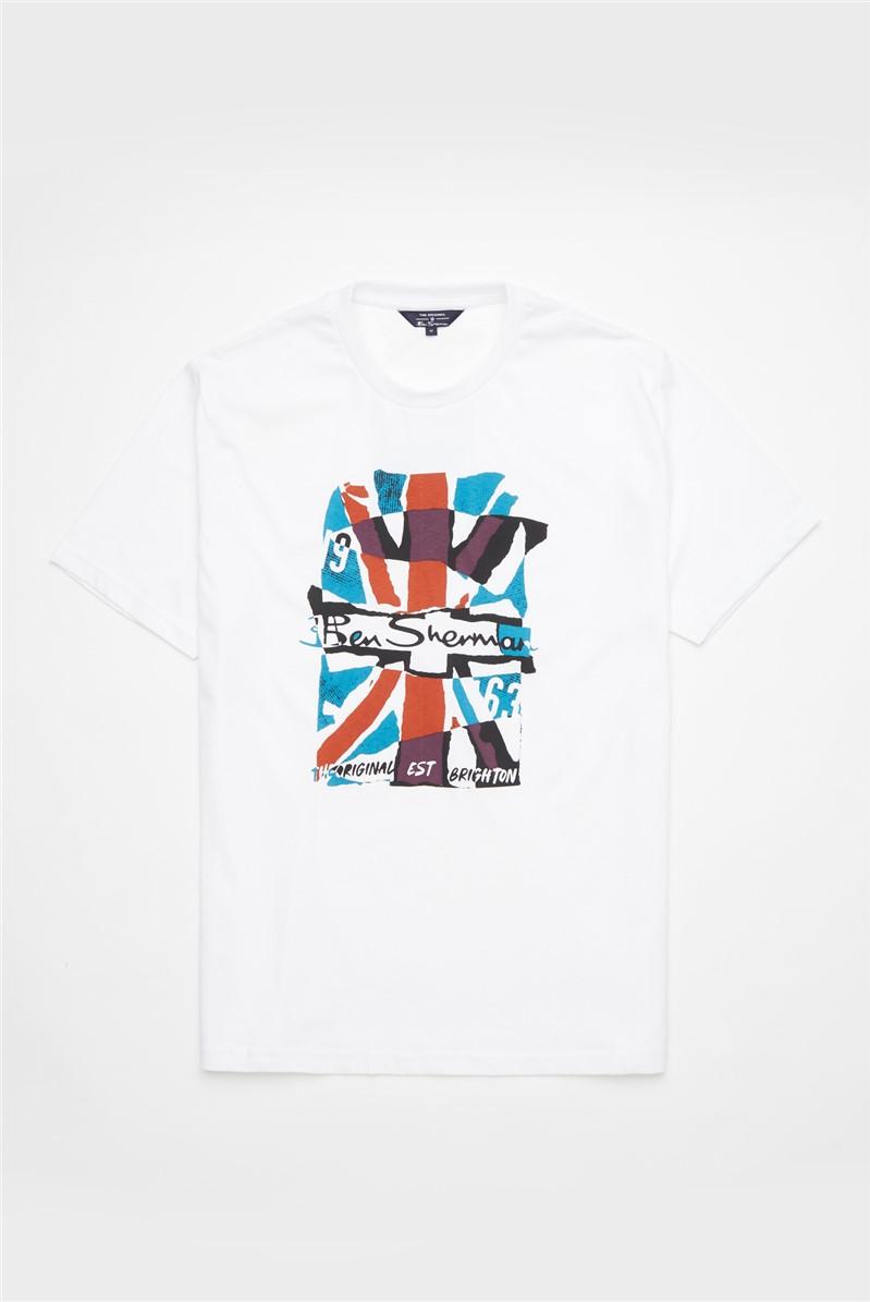 White Collage Union Jack Graphic Tee