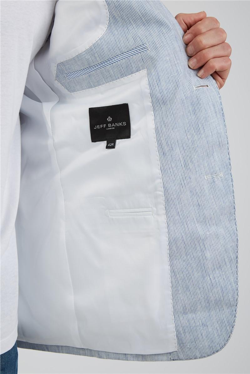 Blue Fine Stripe Linen Blazer
