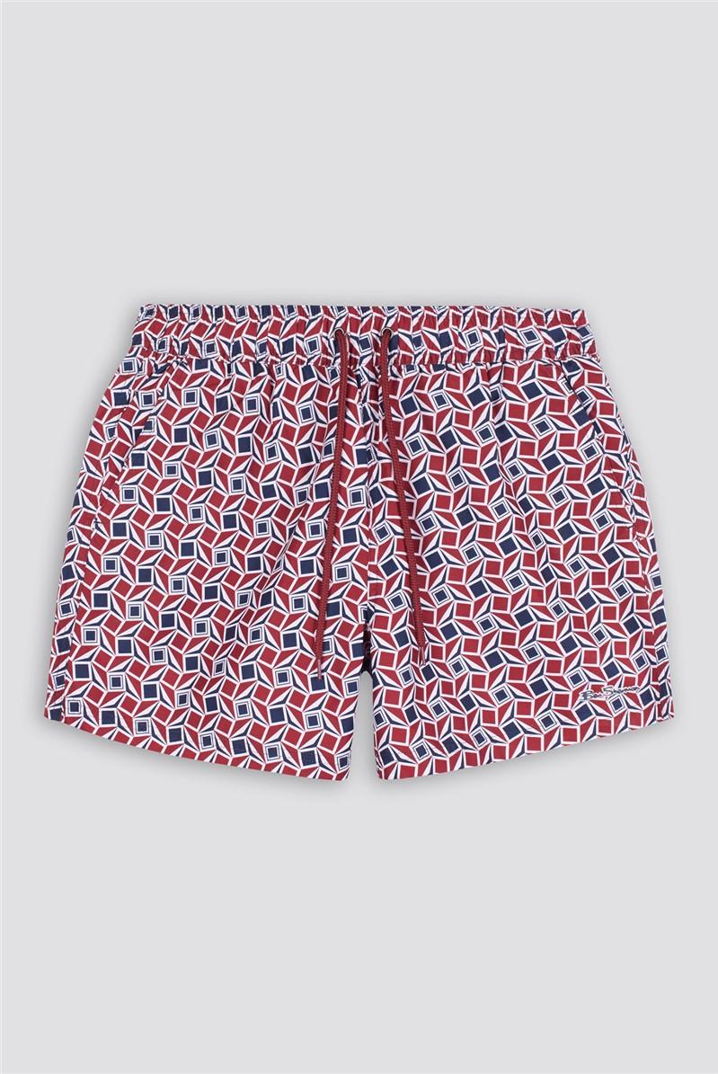 Red Blue Geo Long Beach Swim Shorts in Shorter Length