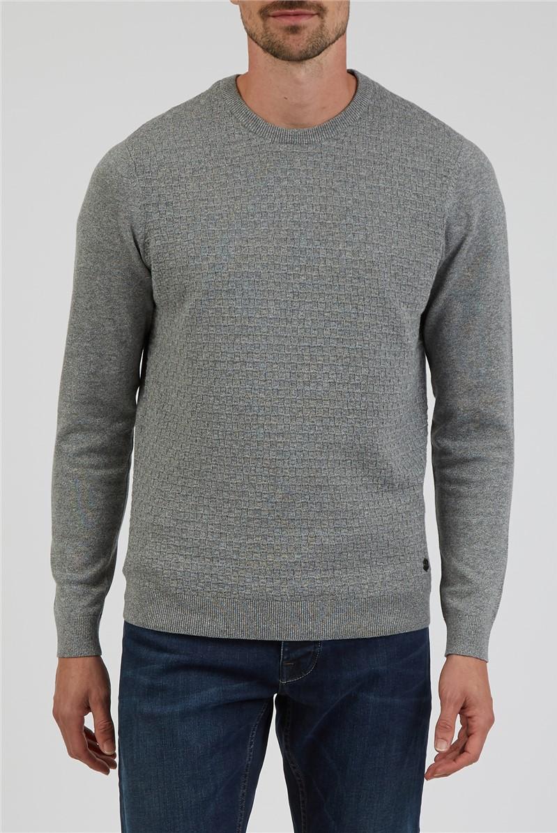 Grey Basket Knitted Crew Neck Jumper