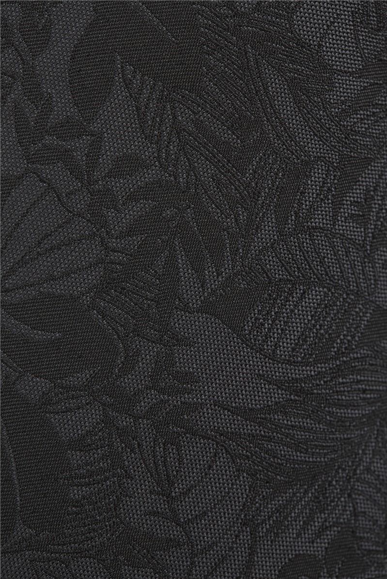 Black Sketch Hawaiian Floral Tie