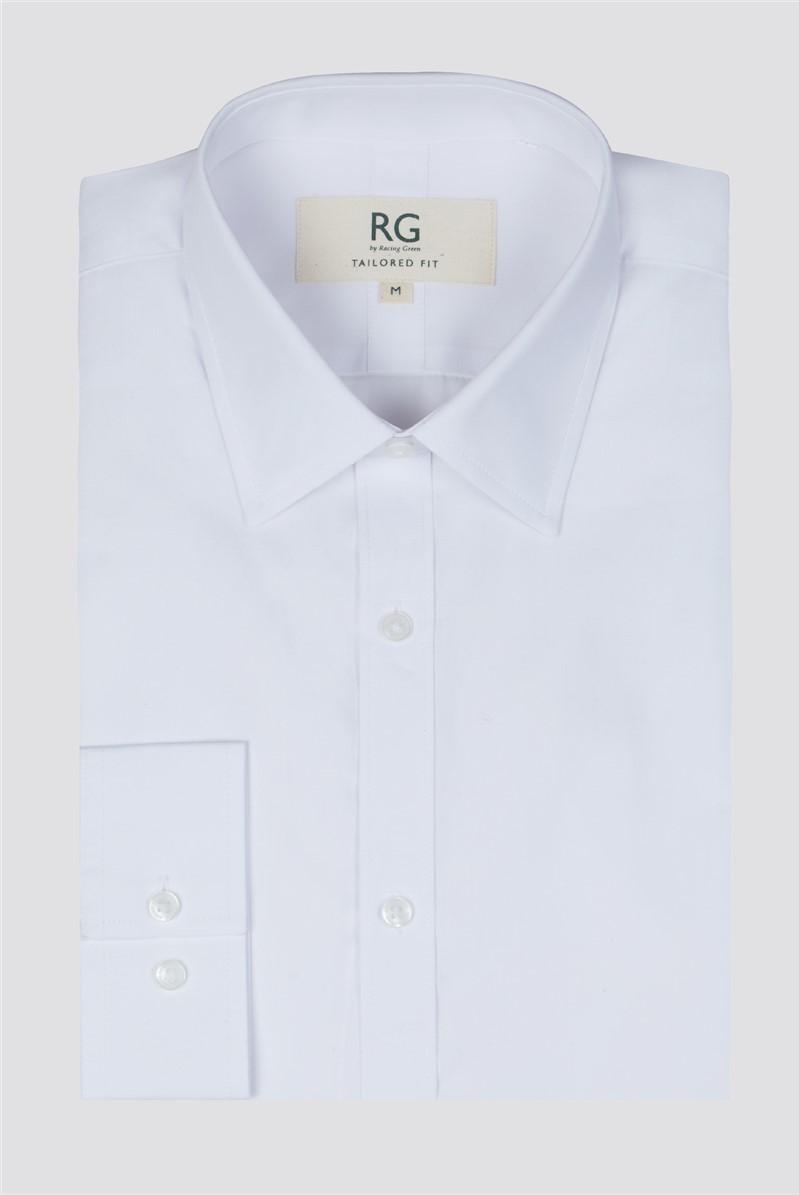 White Poplin Single Cuff Shirt