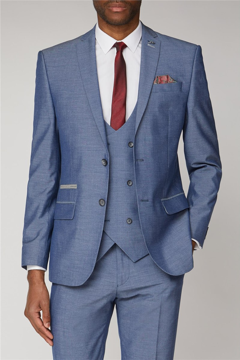 Blue Textured Slim Fit Two Piece Suit