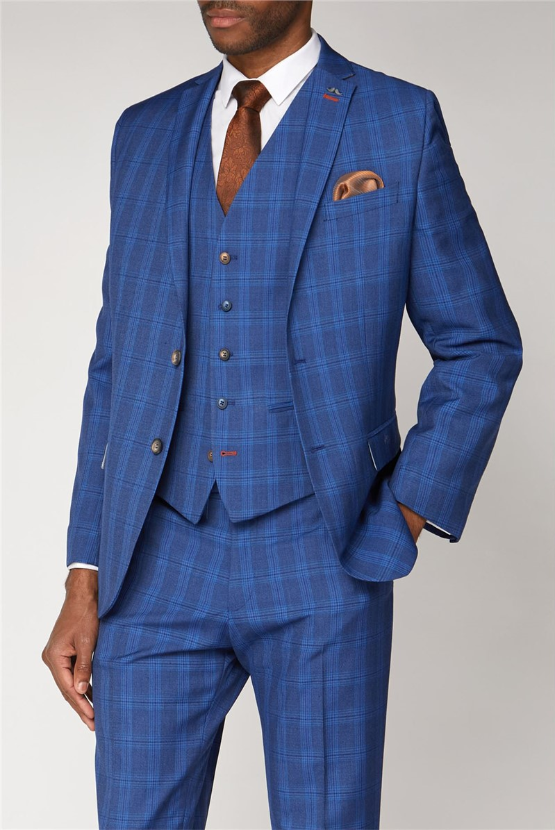 Blue Checked Slim Fit Suit