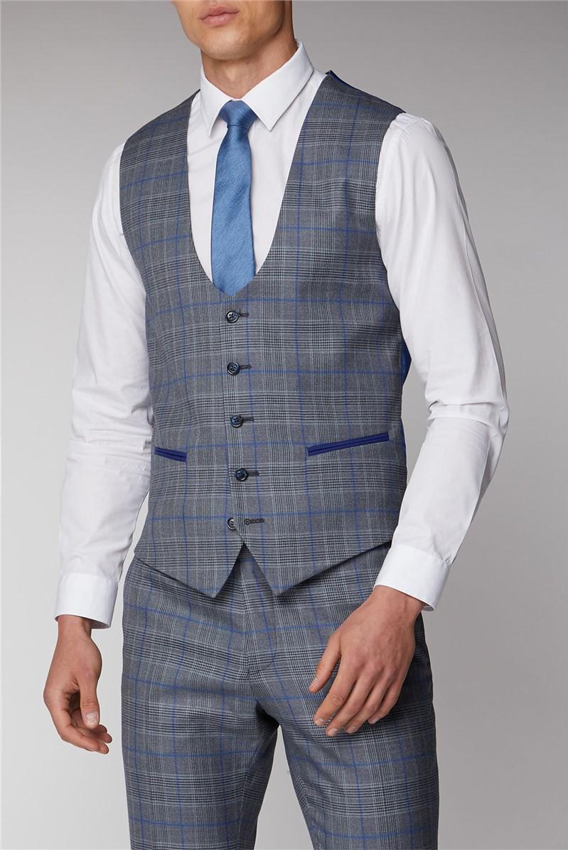 Grey and Blue Check Waistcoat