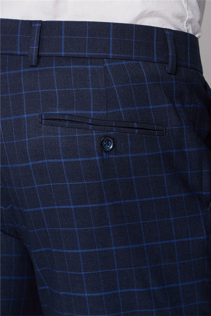 Navy and Bright Blue Check Trouser