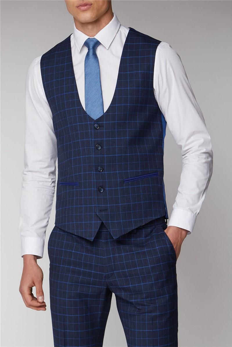 Navy and Bright Blue Check Waistcoat