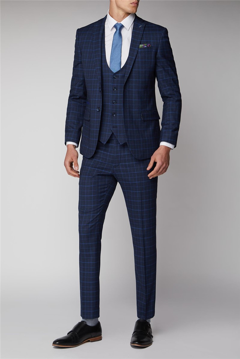 Navy with Bright Blue Check Suit