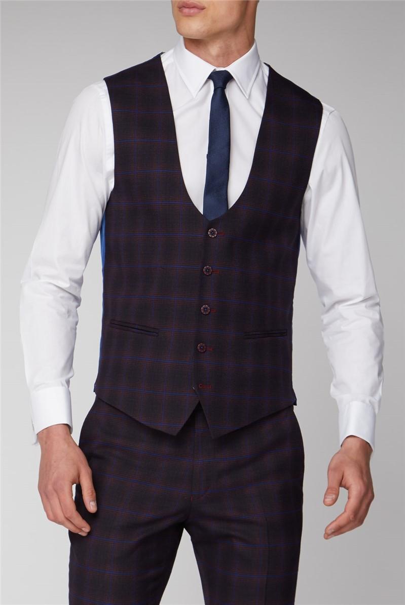 Burgundy and Navy Blue Check Waistcoat