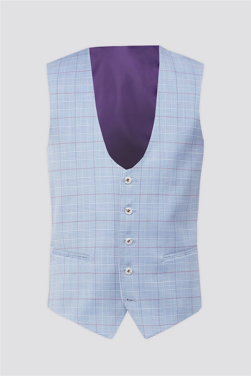 Pale Blue With Raspberry Over Check Waistcoat