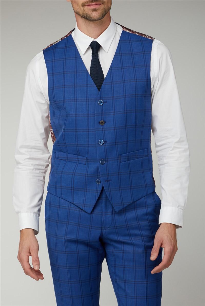 Cobalt Check Waistcoat