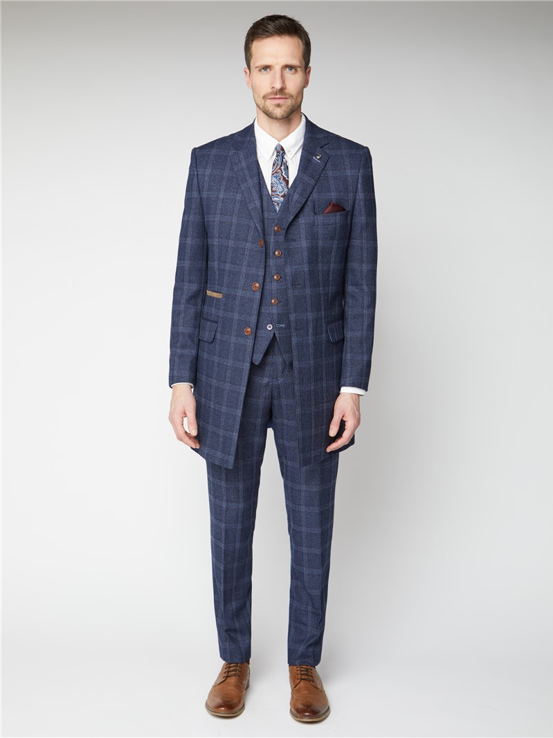 Navy & Blue Tweed Checked Overcoat