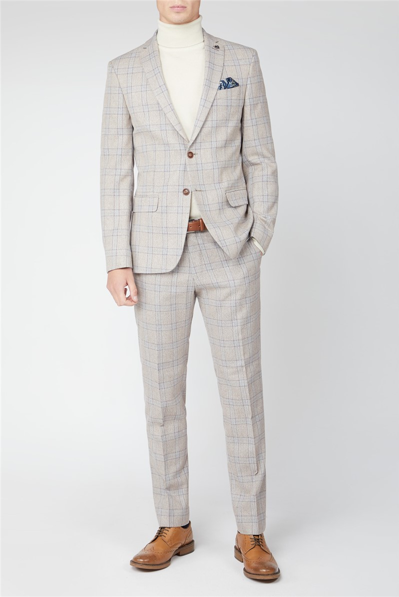 Cream Tweed with Taupe Overcheck Suit