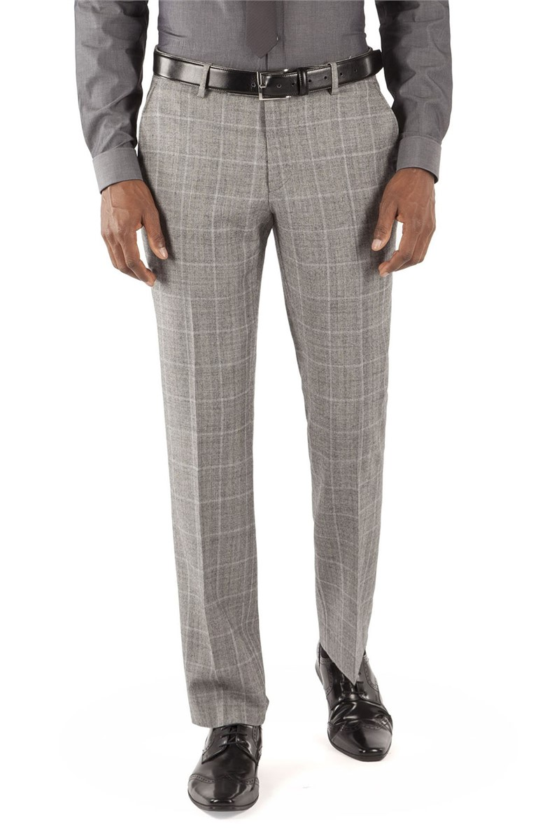 Grey Prince Of Wales Check Kings Fit Suit Trouser
