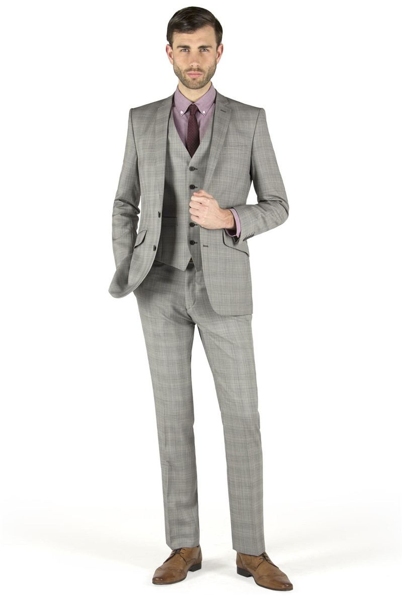 Grey With Blue Overcheck Kings Fit Suit Jacket
