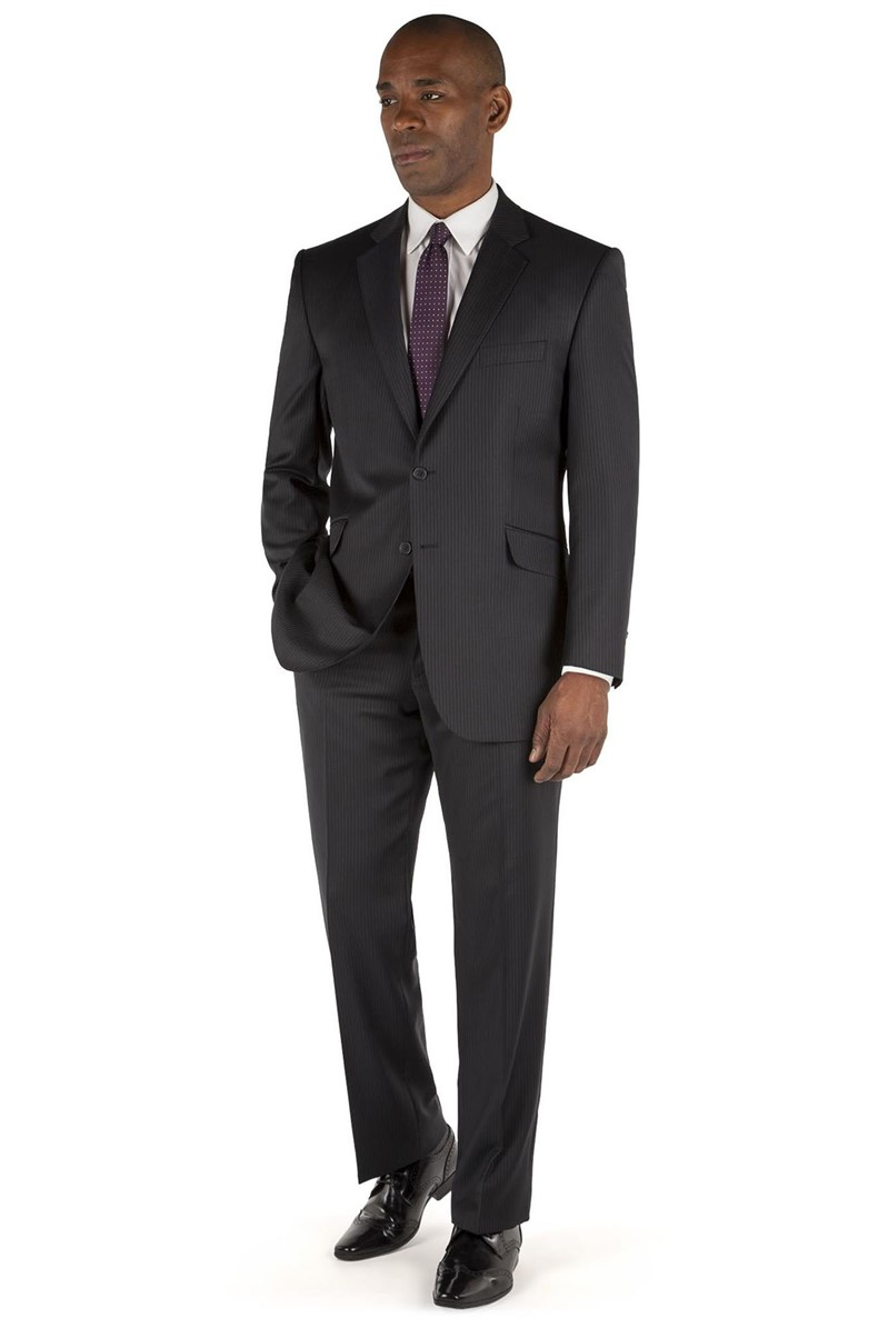 Navy Pinstripe Regular Fit Suit Jacket