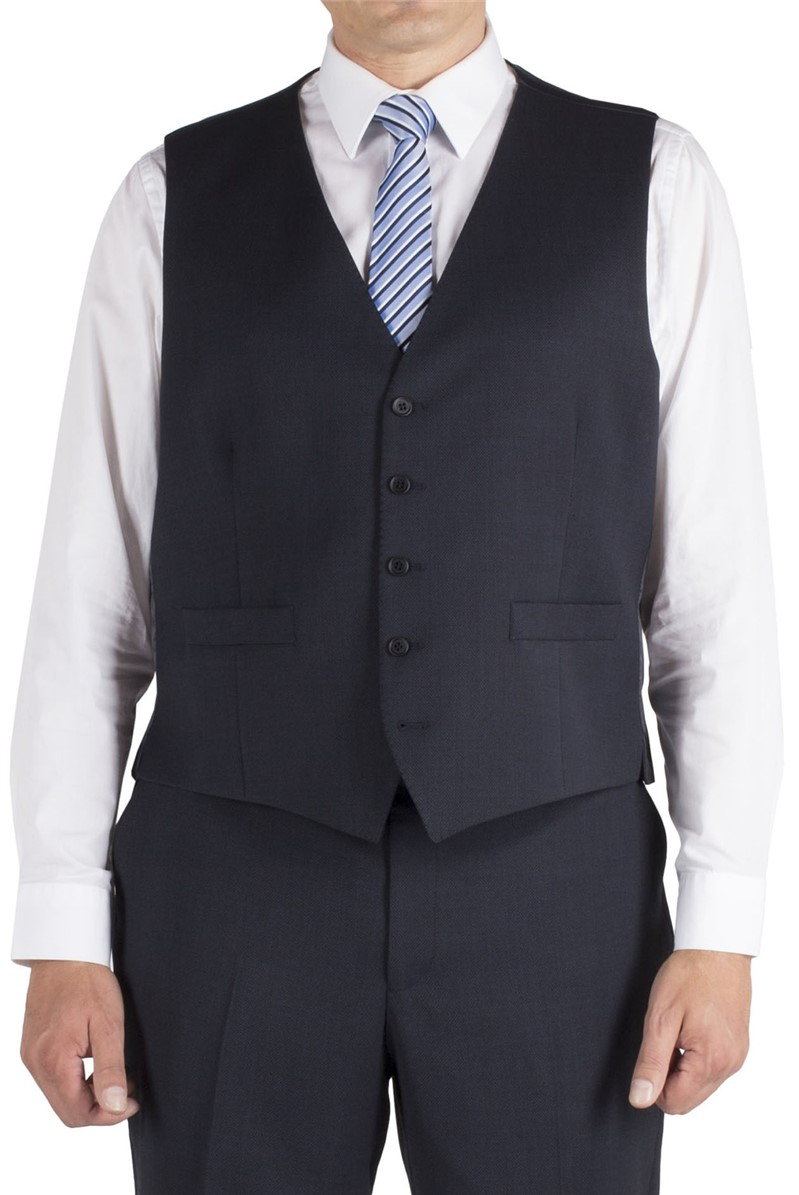 Blue Birdseye Regular Fit Waistcoat