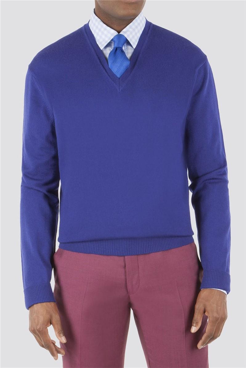 Cobalt Blue Merino V Neck Sweater