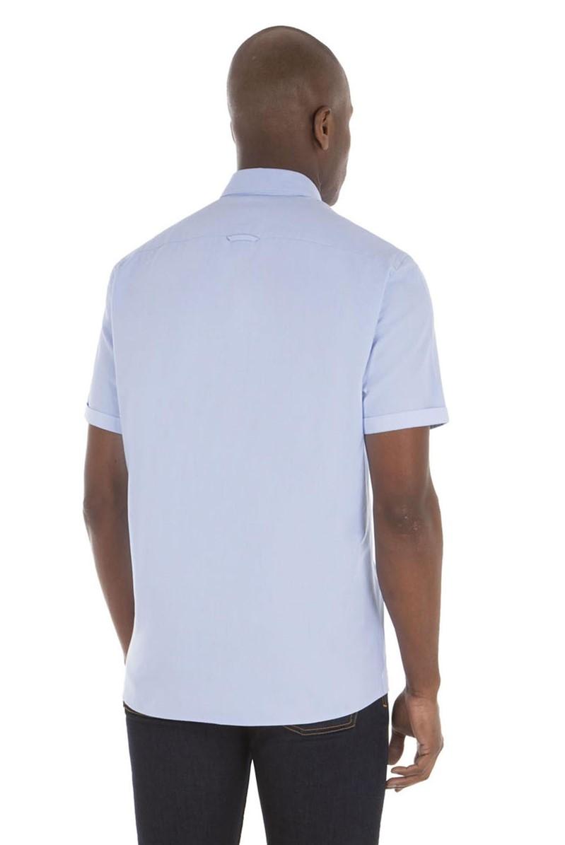 Pale Blue Cotton Short Sleeve Shirt