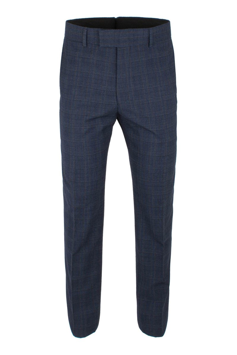 Blue Check Wool Blend Suit Trouser