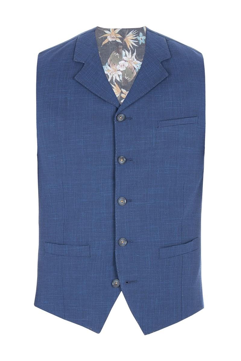 Cobalt Blue Wool Blend Waistcoat