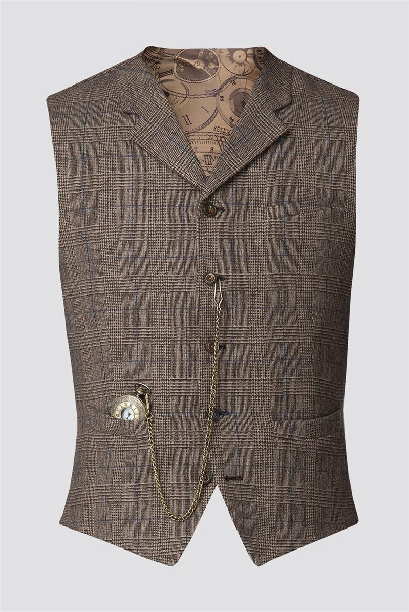 Gibson London Fawn Prince of Wales Check with Blue Over Check Waistcoat