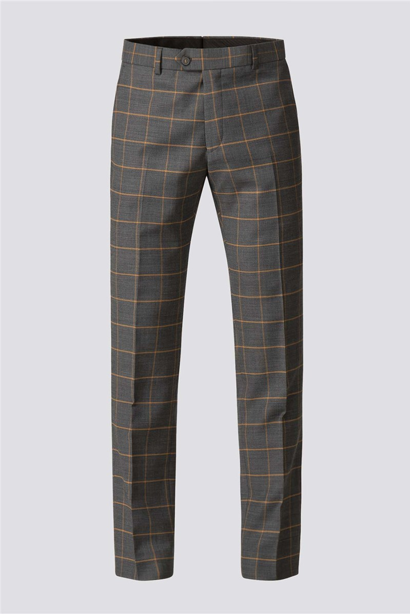 Charcoal Apricot Check Trouser