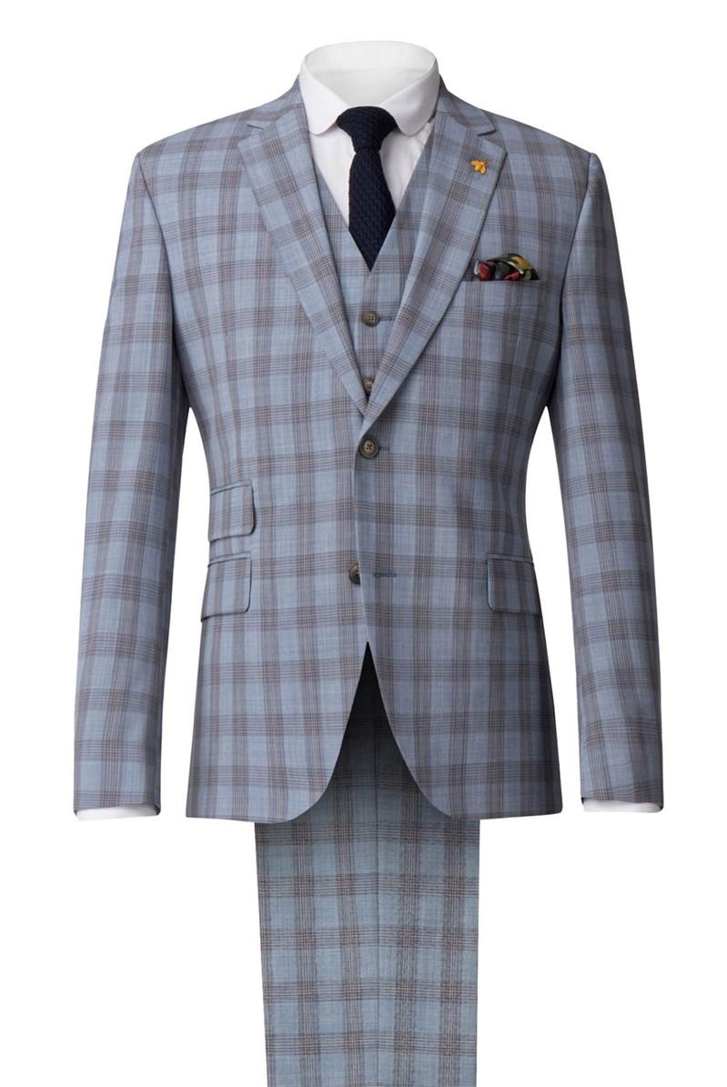 Pale Blue Check Suit