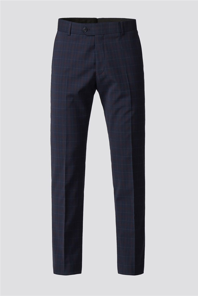 Navy Red Check Suit Trousers