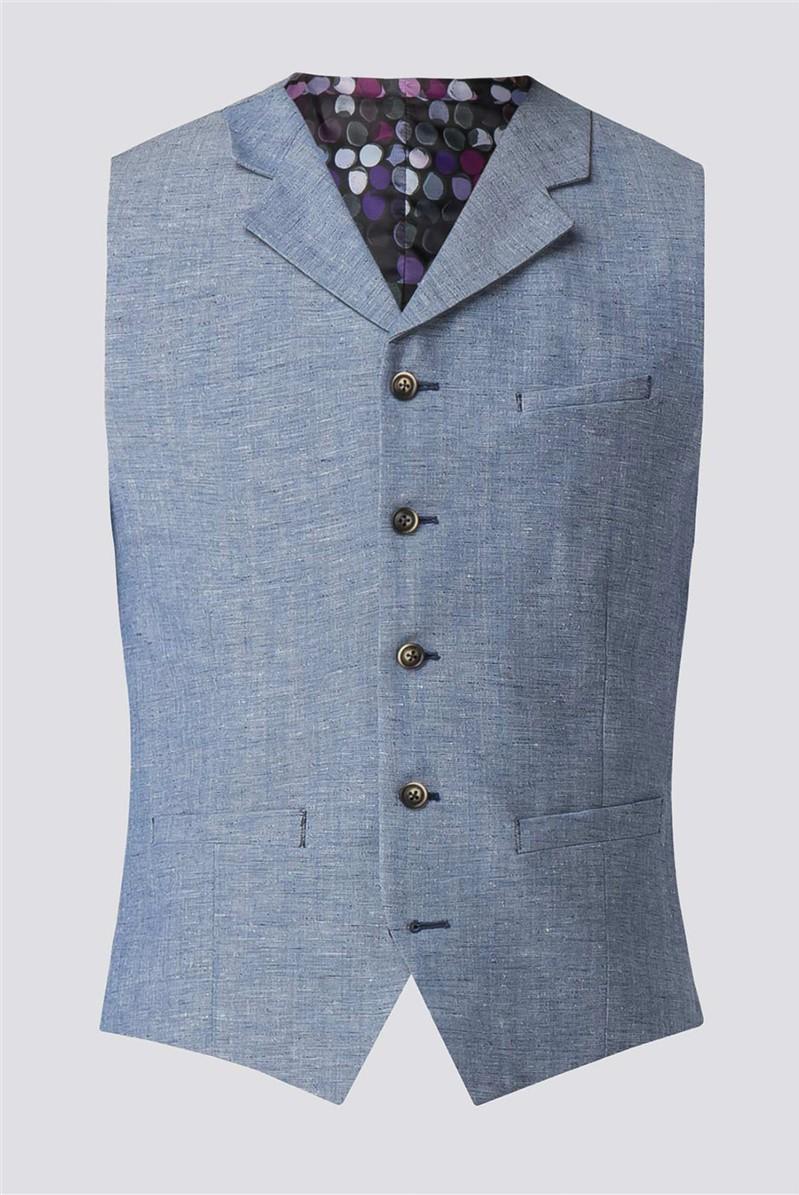 Pale Blue Waistcoat With Linen Flec