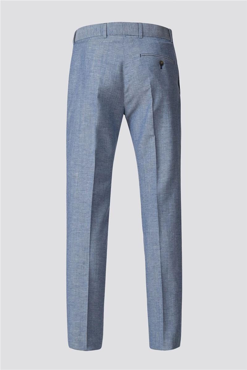 Pale Blue Trousers With Linen Flec