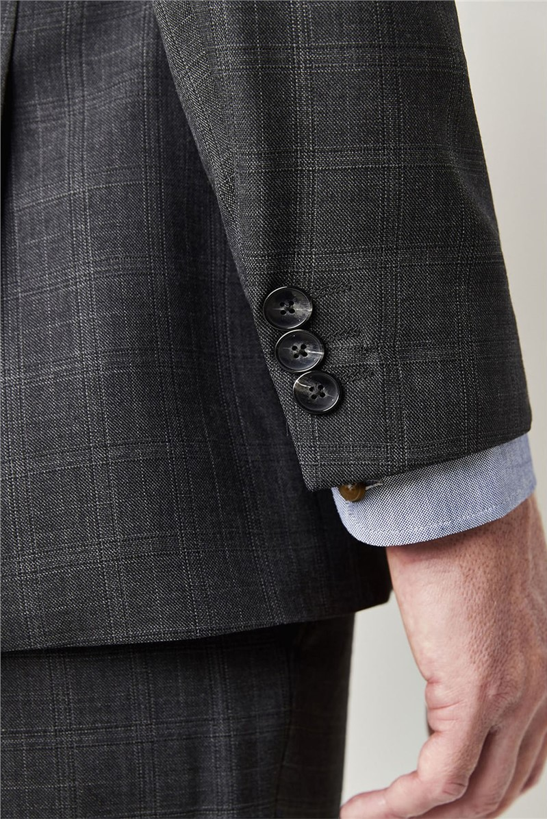 Grey Check Tailored Fit Waistcoat